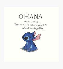 Ohana Means Family Art Print
