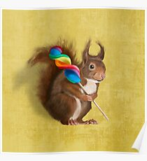 Squirrel with lollipop Poster