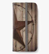 primitive western country barn wood grunge texas star  iPhone Wallet/Case/Skin