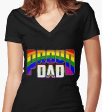 Cool Proud Dad LGBT Pride Women's Fitted V-Neck T-Shirt
