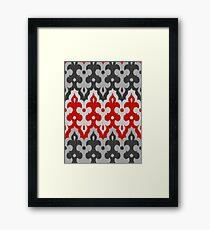 Moroccan Ikat Damask, Graphite Gray and Red  Framed Print