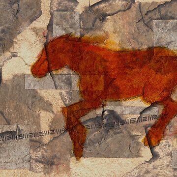 CHINESE RUST HORSE RUNNING by dkatiepowellart