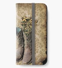 primitive Wildflower brown damask western country cowboy boots iPhone Wallet/Case/Skin
