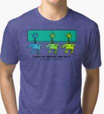 But What Am I? Mimic Master Comic Hero Design - Green Tri-blend T-Shirt
