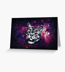 Psychedelic Cat (3D vintage effect) Greeting Card