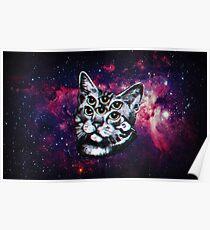 Psychedelic Cat (3D vintage effect) Poster
