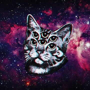 Gato psicodélico (efecto vintage 3D) de Doge21