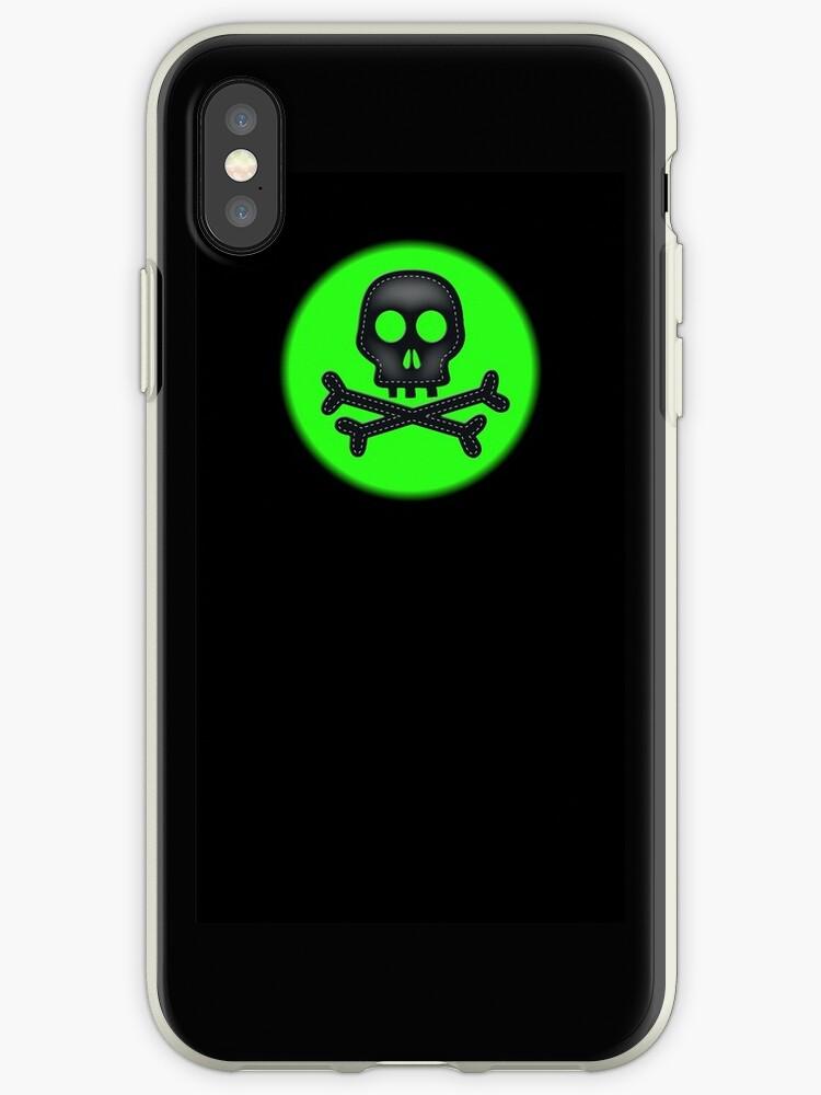 Neon green black skull crossbones simple design by artisticattitud