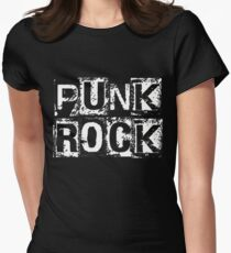 Punk Rock - White Grunge Block Womens Fitted T-Shirt