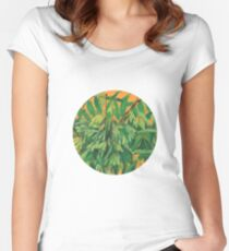 """Ash-tree"", green & yellow, floral art Women's Fitted Scoop T-Shirt"