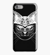 Patterned hipster cat - White iPhone Case/Skin