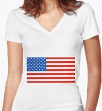 United states national flag Women's Fitted V-Neck T-Shirt