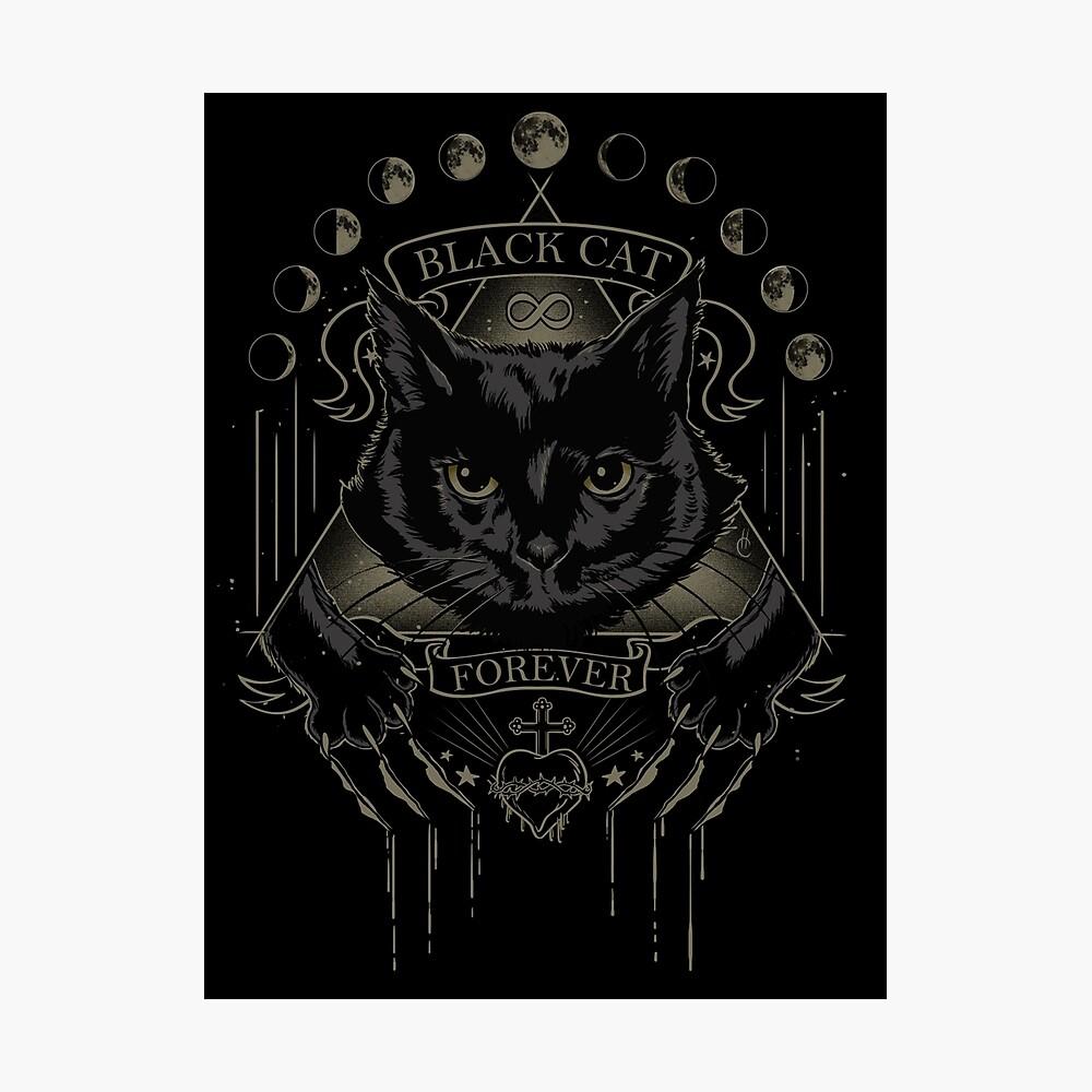 Schwarze Katze Kult Fotodruck