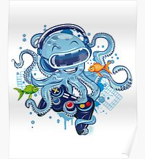 Octopus With Gamepad And Vr Goggles Poster