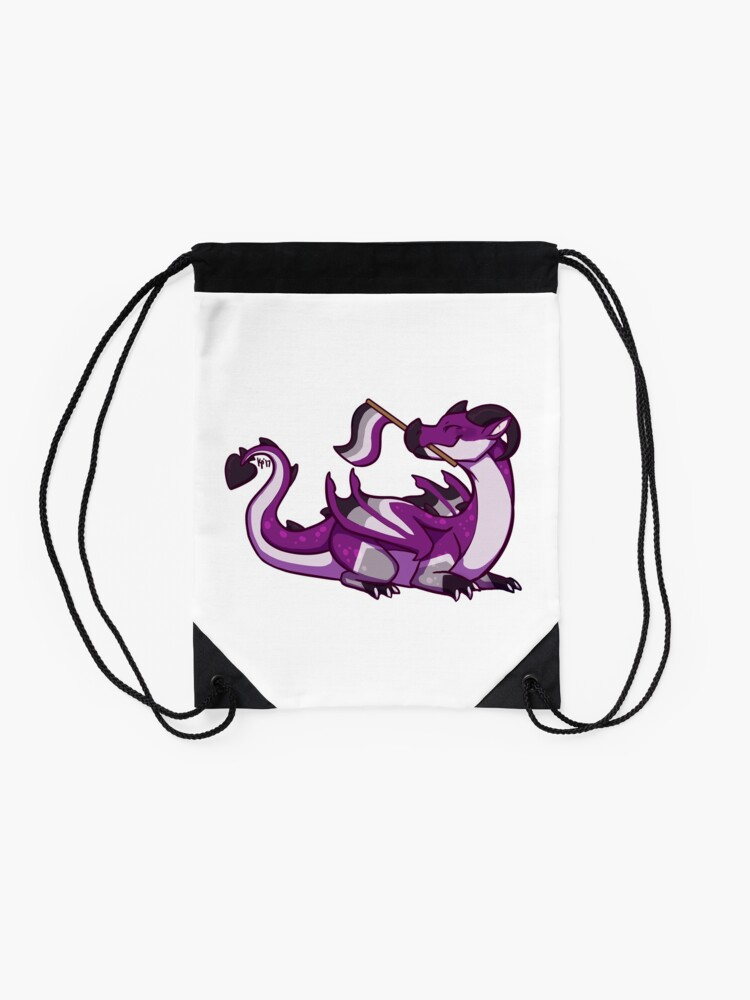 Alternate view of Asexual Pride Flag Dragon (1st Edition) Drawstring Bag