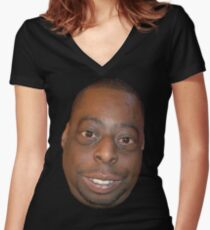 Beetlejuice Head Lester Green Women's Fitted V-Neck T-Shirt