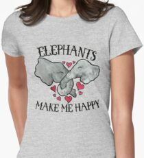 Elephants make me happy Womens Fitted T-Shirt