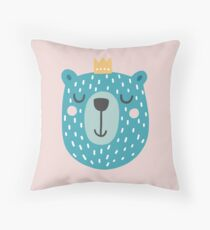 Blue Bear with Crown Throw Pillow