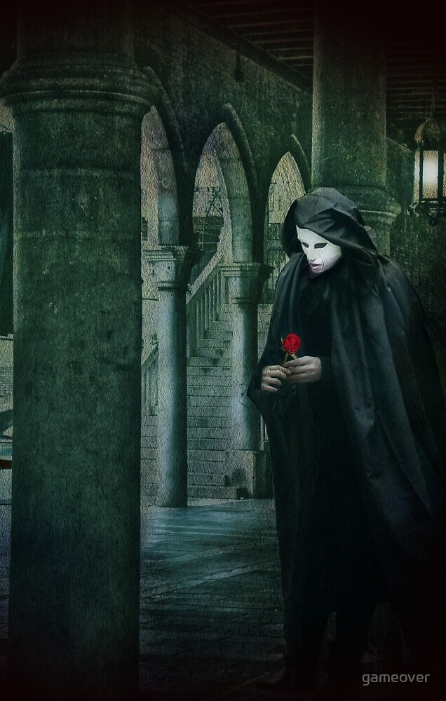 Venice, Carnival memories, masked man with rose by gameover