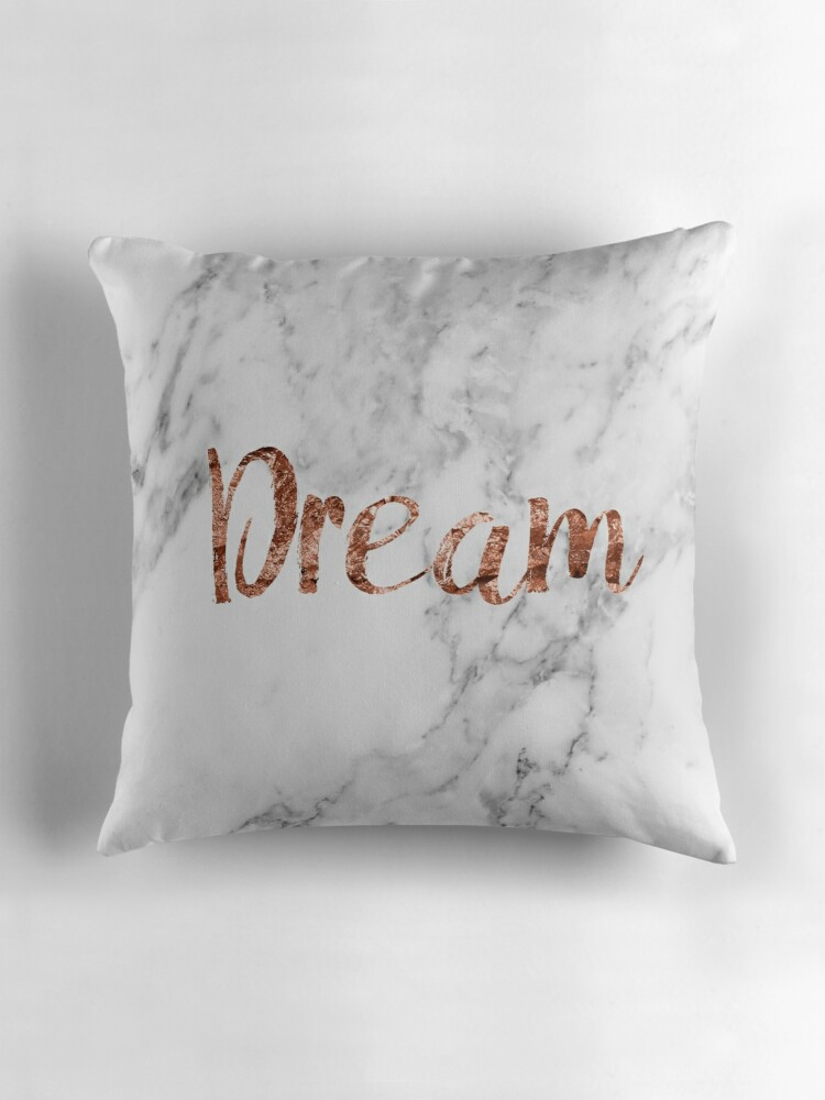 Quot Rose Gold On Marble Dream Quot Throw Pillows By Peggieprints