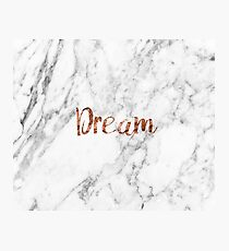 Rose gold on marble dream Photographic Print