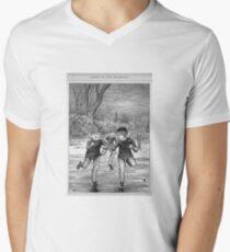 Ice skating on the pond Men's V-Neck T-Shirt