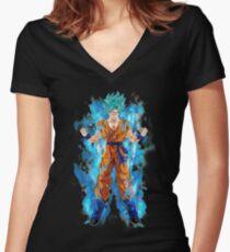 goku super saiyan Women's Fitted V-Neck T-Shirt