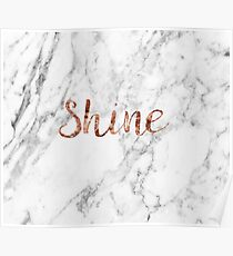 Shine - rose gold marble Poster