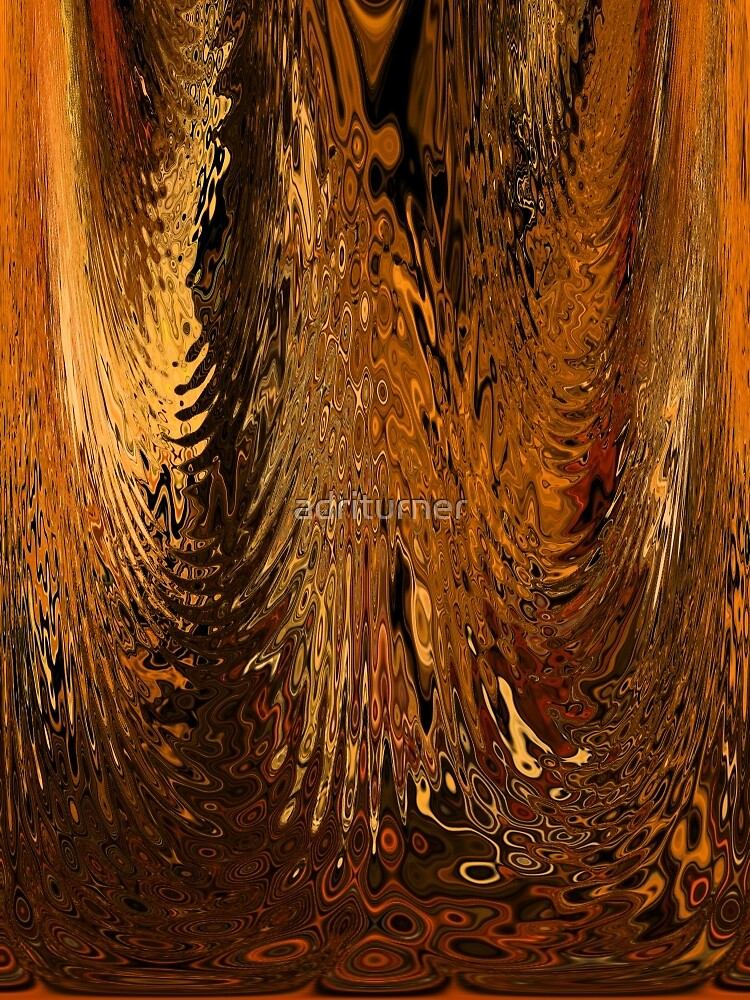 Tiger Gold Abstract Metal Copper Brown Colors Water Glass Ripple by Adri Turner