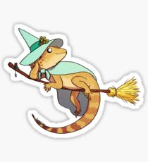 Bearded Dragon on a Broom Sticker