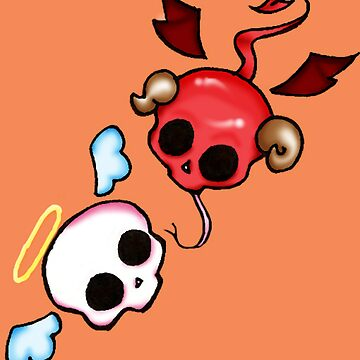 Cute Angel and Devil skulls by MafiaThirteen