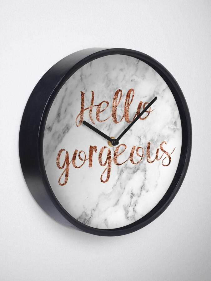 Alternate view of Hello gorgeous - rose gold marble Clock