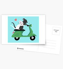 Scooter Cats in Love Postcards