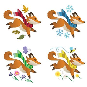 Woodland Foxes with Scarves: Four Seasons  by taylorsmith03