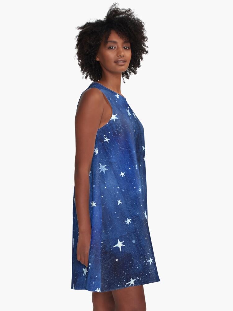 Alternative Ansicht von Stern-Aquarell-Illustration A-Linien Kleid