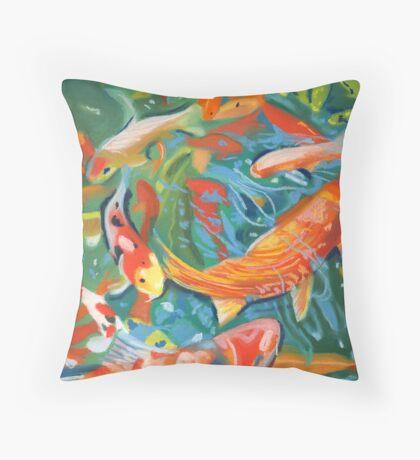 abstract koi pond Throw Pillow