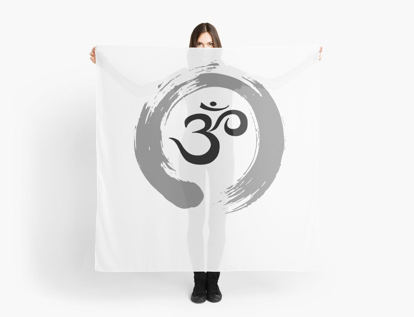 Ohm Sanskrit Symbol Zen Circle Namaste Peace Scarves By Seanicasia