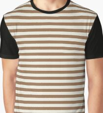 Stripes - Light Brown & Off White Graphic T-Shirt
