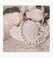 Soft Pink Nostalgic Rose and Heart Still Photographic Print