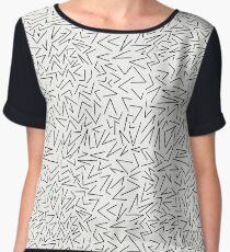 Angular Geometric Pattern - Off White and Black Women's Chiffon Top