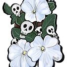 White Flowers and Skulls by SurlyAmy