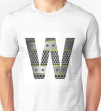 colorful illustration with perforated metal letter W  on a white background T-Shirt