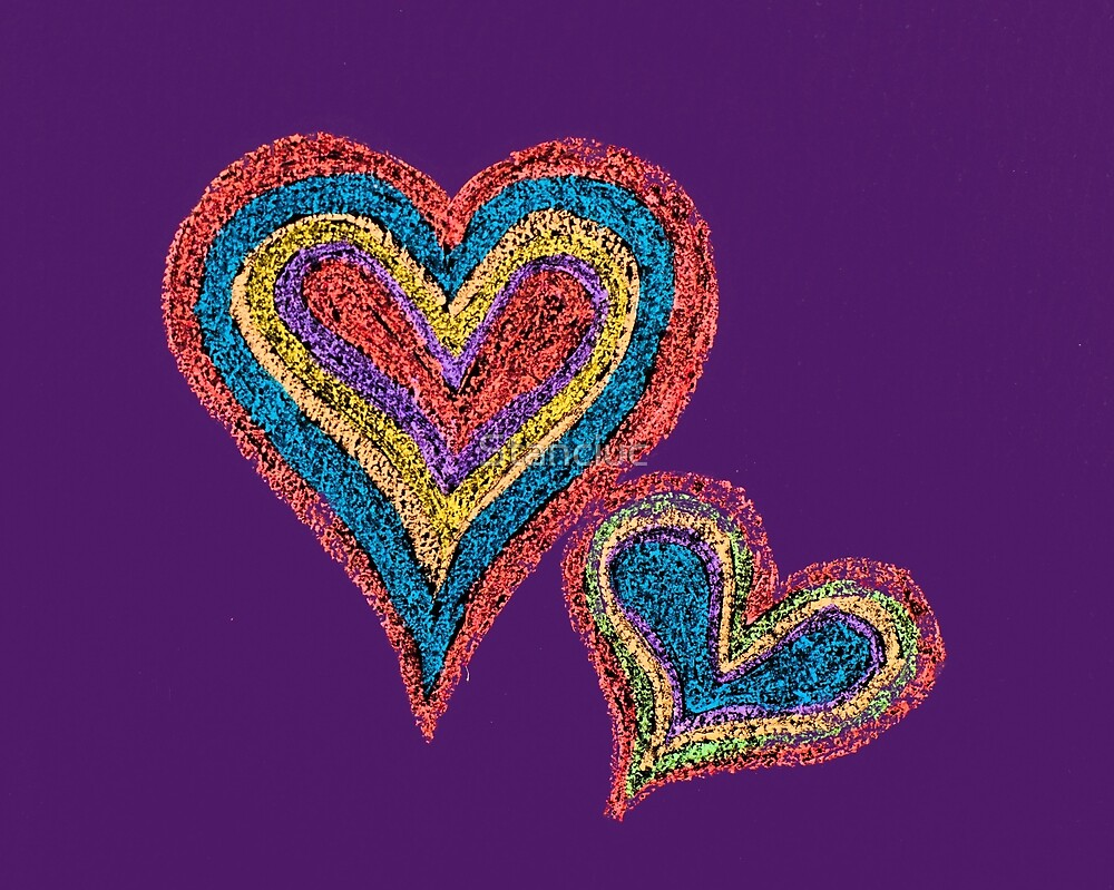 Two vivid color shape hearts close one to each other by Stanciuc