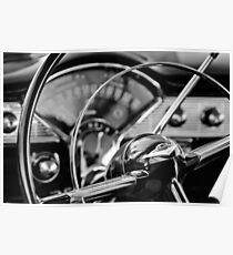 1956 Chevrolet Bel Air Steering Wheel -0552bw Poster