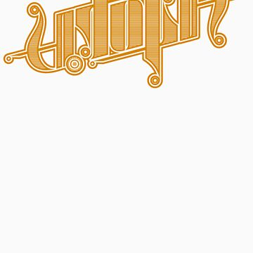 Utopia Ambigram Gold by timcostello