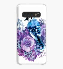 Blue Jay and Violet Flowers Watercolor  Case/Skin for Samsung Galaxy