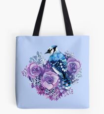 Blue Jay and Violet Flowers Watercolor  Tote Bag