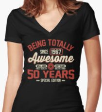Born in 1967 Women's Fitted V-Neck T-Shirt