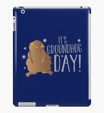 It's GROUNDHOG DAY! with cute little groundhog and snowflakes iPad Case/Skin