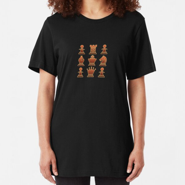 Chess - Brown square Slim Fit T-Shirt